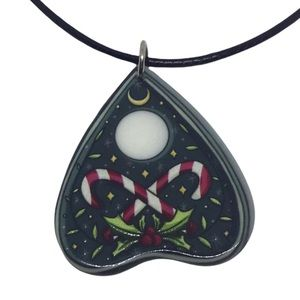 Holiday / Christmas Ouija Planchette with candy cane and holly pendant necklace